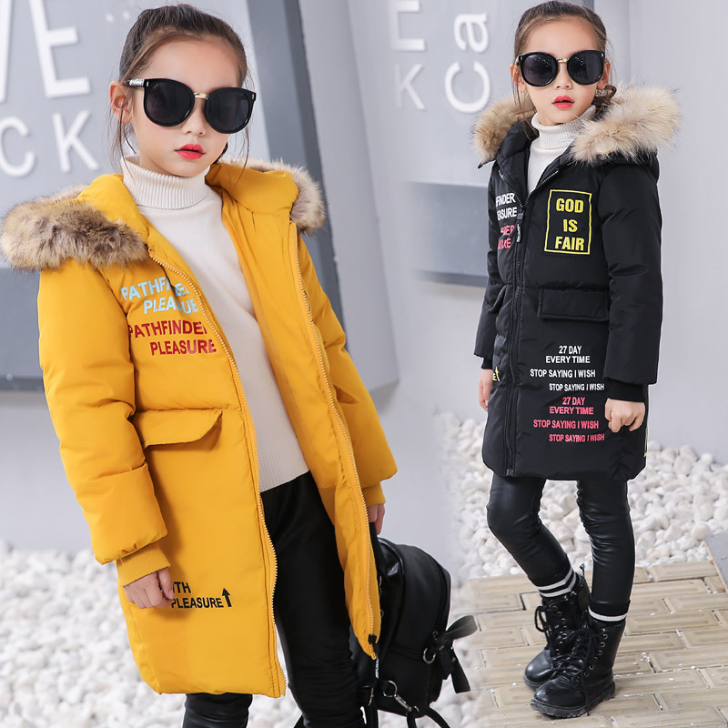 Girls Winter Jacket Kids Outerwear Parkas Girl Thick Warm Hooded Coat 2018 New Children Long Jackets Down Coats Kids Snowwear 2018 kids long parkas winter jackets for girls fur hooded coat winter warm down jacket children outerwear infants thick overcoat