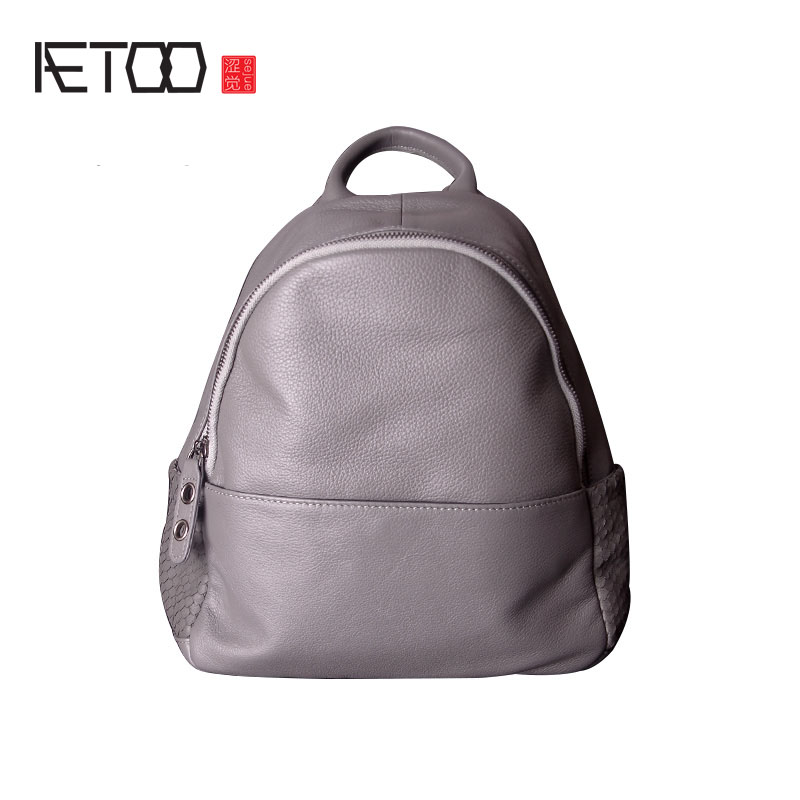 AETOO Shoulder bag female leather first layer of leather autumn and winter new simple large capacity soft leather backpack aetoo shoulder bag leather men bag trend first layer of leather large capacity new of the backpack bag