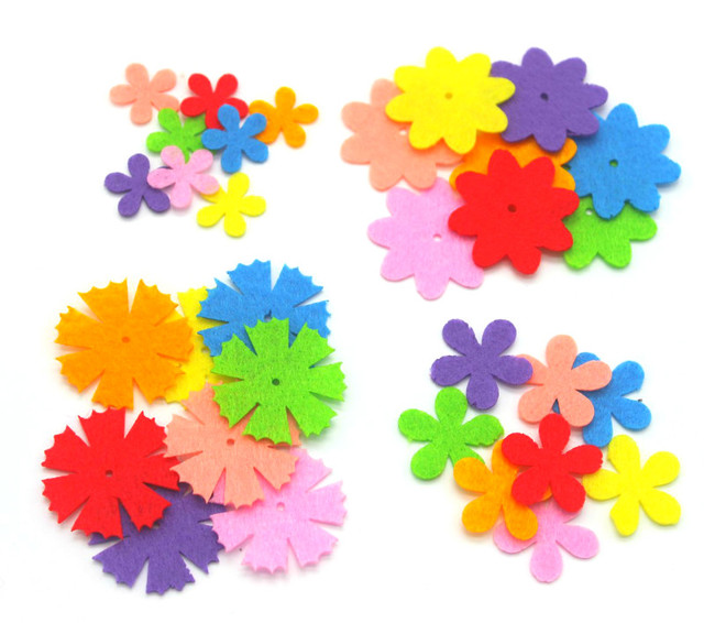 2017 New Scrapbook Die Cut Non Woven Felt Flower Petals Children's Handcraft DIY Puzzle Paste Material 40pcs/lot