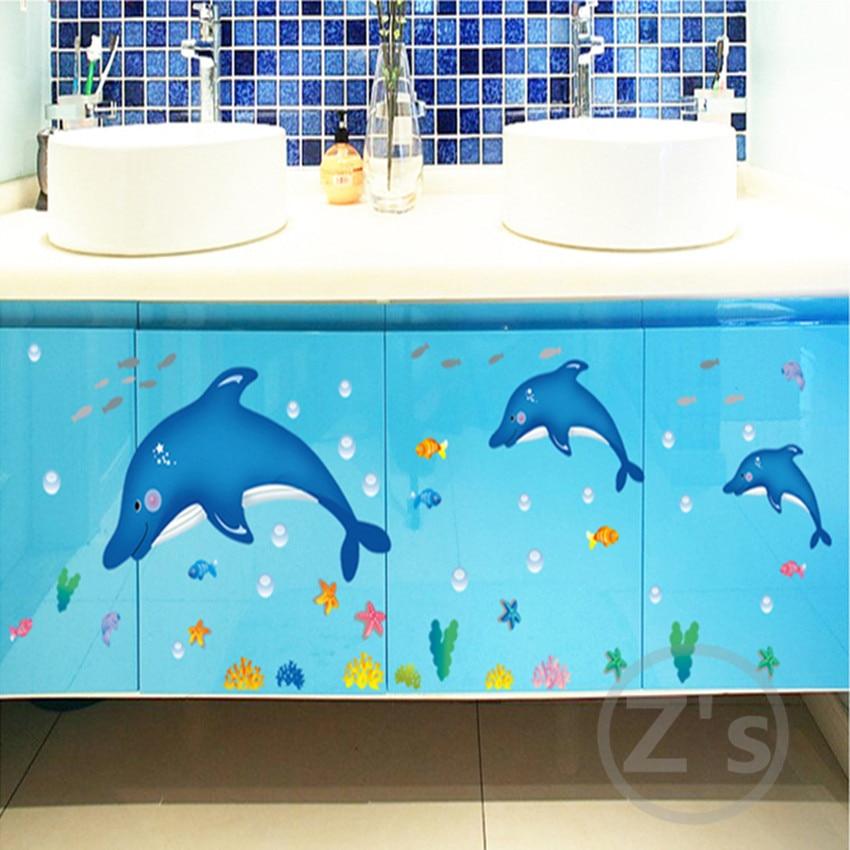 Zs Etiket delfin balıq dəniz divarı etiket vanna otağı bəzək - Ev dekoru - Fotoqrafiya 3