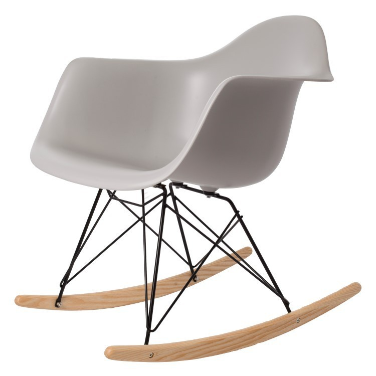 Modern Design Popular Home decoration Rocking Chair Plastic Shell Rocker Home Rocking chairs Leisure Chair modern-Black Wire leg
