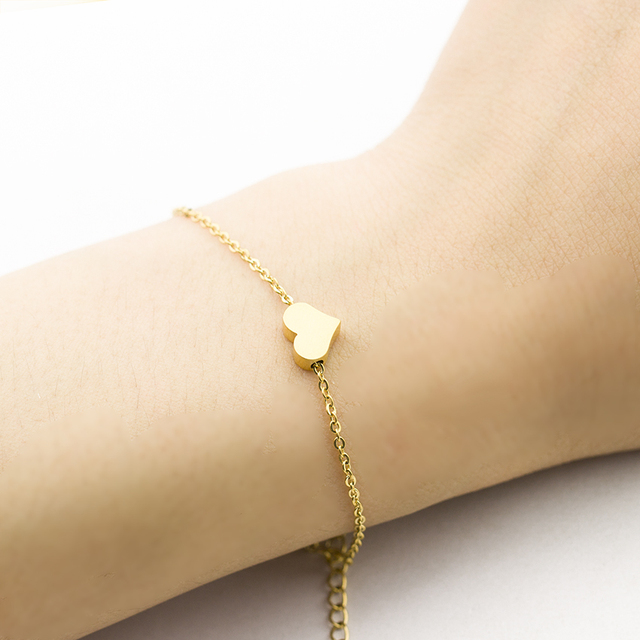 0cc04192219 US $1.68 20% OFF|Girls Friendship Wedding Bridesmaid Bracelet Female Heart  Designs Gold Color Stainless Steel Romantic Lover's Engagement Jewelry-in  ...