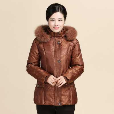 ФОТО Middle-Aged Women'S Down Jacket Mother Padded Duck Fertilizer  Winter Warm Coat Women Oversized Thick Cotton Clothing H1304