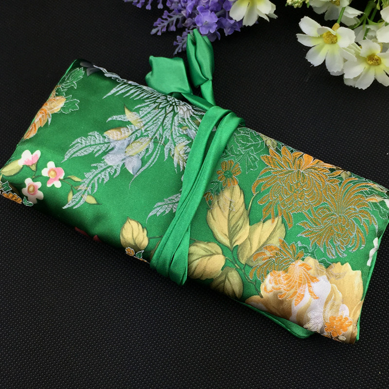 best pattern jewellery roll bags travel packaging silk fabric women trinket rings earring bangle bracelet necklace storage pouch - Jewelry Roll