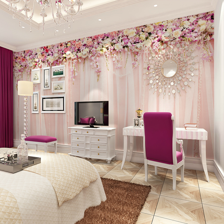 Small Cozy Bedroom For Girls Bewitching Pink Wallpaper In: Wholesale 3d Wall Photo Mural For Wedding Room Cloth