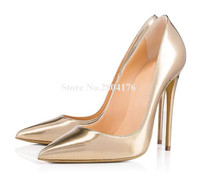 Brand Fashion Women Pointed Toe Gold White Patent Leather Stiletto Heel Pumps 12cm Charming High Heels Formal Dress Shoes