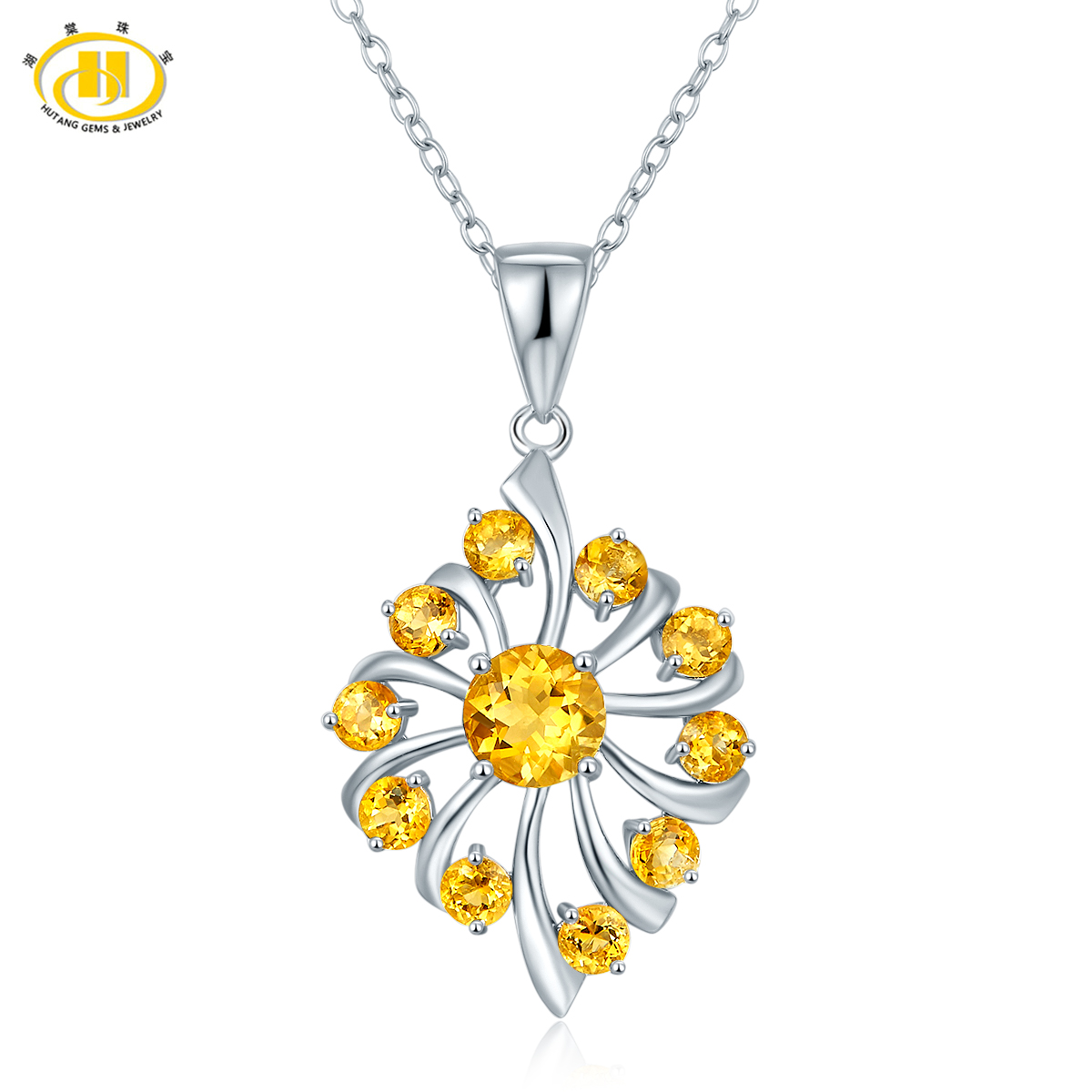 Hutang Cute Genuine Citrine Pendant Necklace Solid 925 Sterling Silver Gemstone Fine Jewelry Trendy Style Women Best Gift