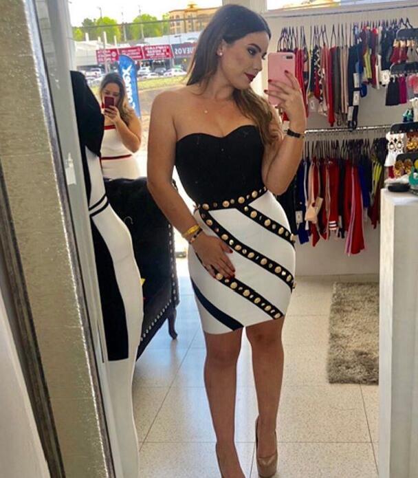 High Quality Celebrity Black Strapless Botton Mini Sexy Rayon Bandage Dress Evening Party Summer Dress