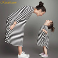 Kindstraum 2016 Family Matching Outfits Mother Daughter Full Black Striped Dresses Summer Clothes For Mom & Kids, MC088