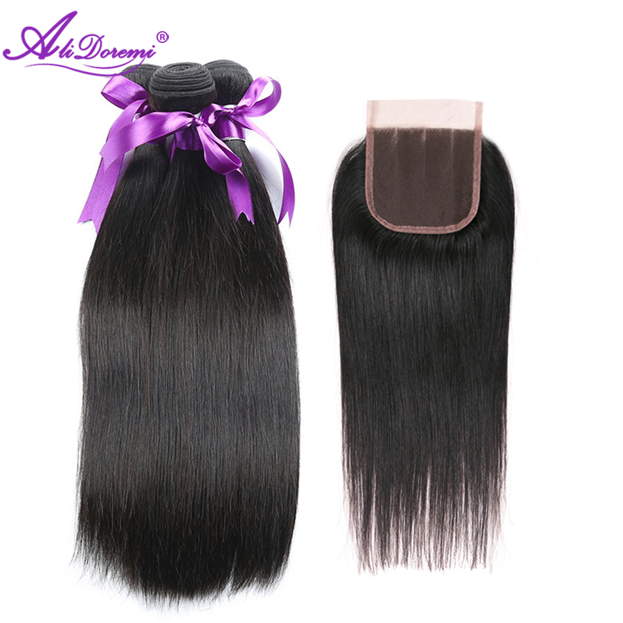 Alidoremi 3 Bundles with Closure Indian Straight Hair Middle Three Free part 100% Human Hair Non Remy Free Shipping