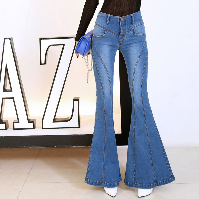 aa7977e8880 Autumn High Waist Flare Jeans Pants Size S XL Stretch Skinny Jeans Women  Wide Leg Slim Hip Denim Boot Cuts Trousers Size S XL-in Jeans from Women s  Clothing ...