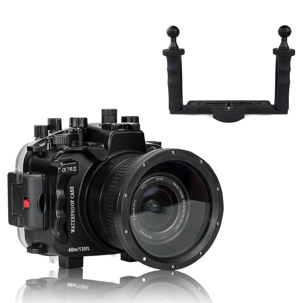 Boîtier étanche pour appareil photo de 40 m/130ft pour Sony A7 III A7R III A7M3 sac étanche pour appareil photo + plateau à deux mains pour Sony