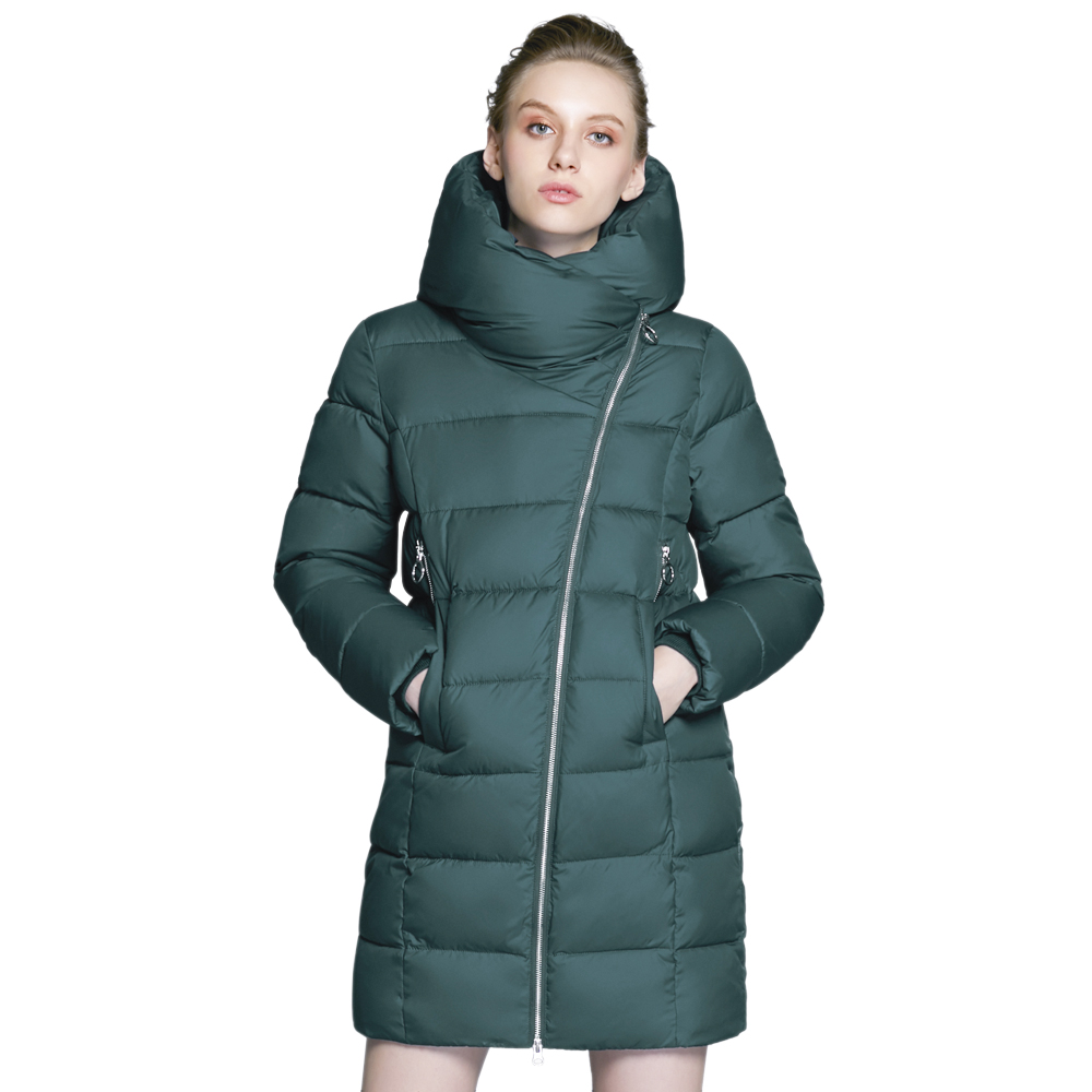 ICEbear 2018 new fashion long hooded coat winter woman coats thickening windproof warm clothes women jacket GWD17657D icebear 2018 woman clothing solid color long sleeved casual women coat stand collar pockets fashion trench coats 17g122d