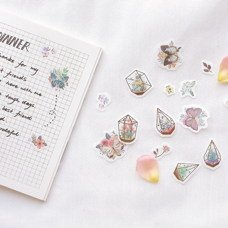 Flower Hot Ball Breakfast Gilding Decorative Stickers Adhesive Stickers DIY Decoration Diary Stationery Stickers Children Gift