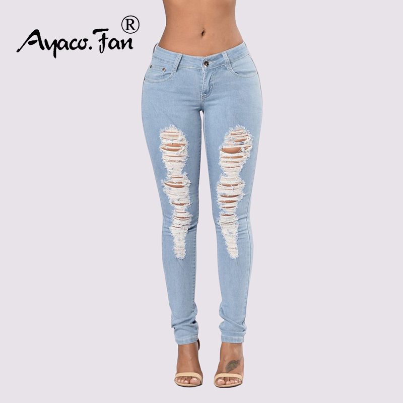 Women Jeans Light Blue Hole Ripped Stretch Mid Waist Skinny Jeans Thin Plus Size Spring Summer Denim High Elastic Female Pants