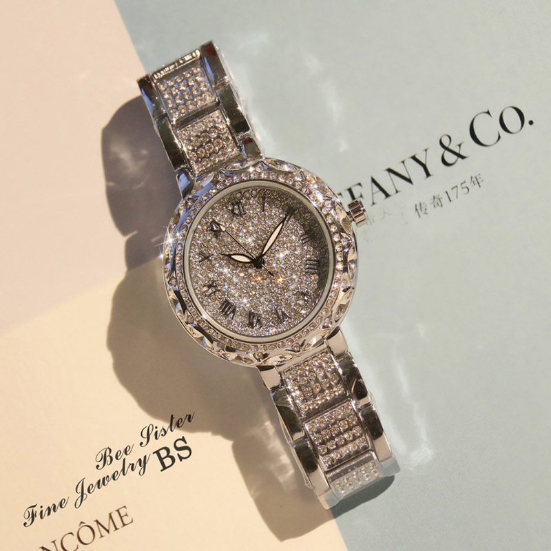 Vrouwen Horloge Japan Quartz Uur Fijne horloges Lady Fashion Party Armband  Staal Luxe Rhinestones Crystal Verjaardagscadeau horloge in Vrouwen Horloge  Japan ... a3648cfd1978