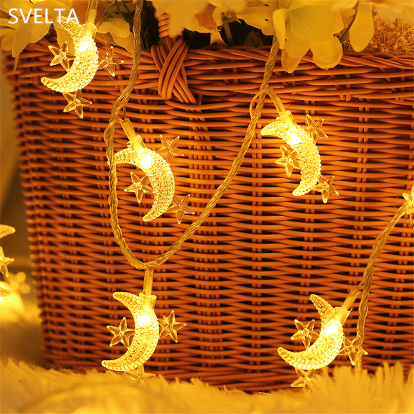 SVELTA 10M 80 Star Moon Garland LED String Light Battery Powered Fairy Lights For Christmas Wedding Home LED Decoration Indoor