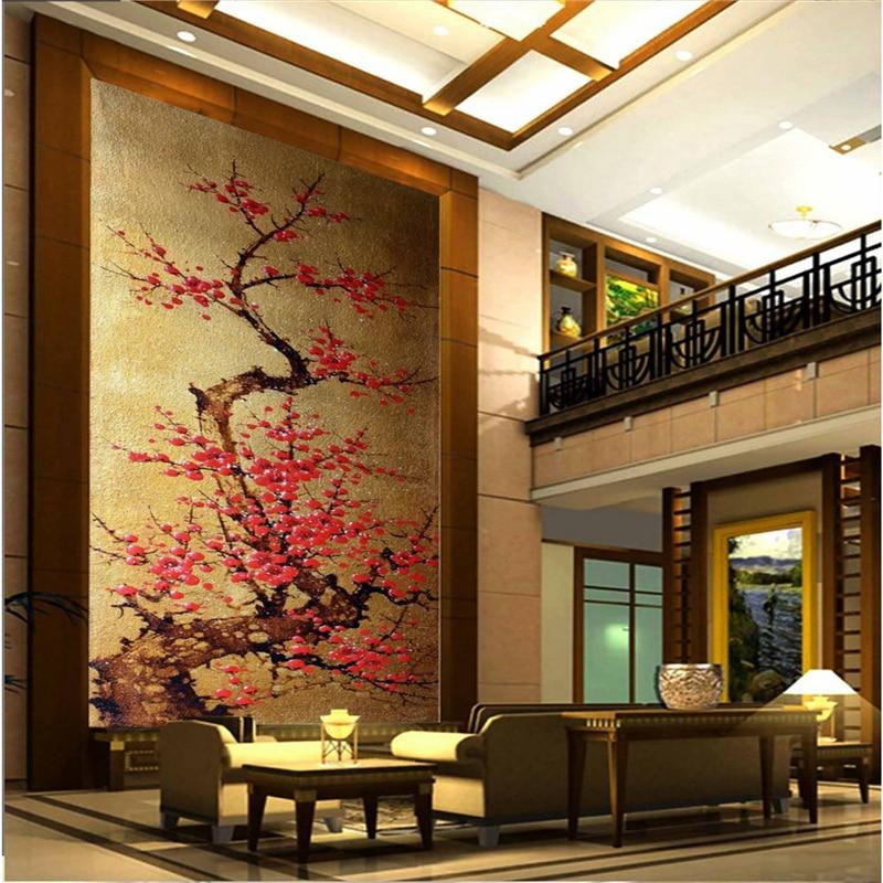 Beibehang Large Custom Wallpapers Fresco Gold Foil Plum Blossom Off The Living Room Background Wall Papel De Parede Para Quarto
