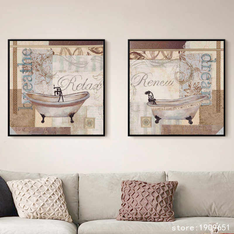 cotton no frame pastoral bathroom bath crock canvas printings oil painting printed on cotton home wall art decoration pictures