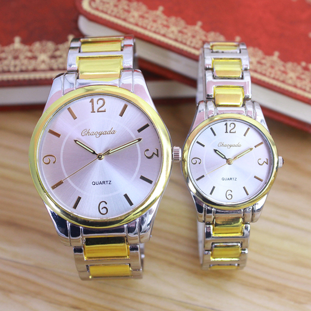 2018 new women men couples lovers stainless steel quartz wristwatches gold contr
