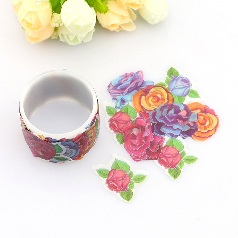 80pcs/roll Flowers Washi Tape DIY Decoration Tape Scrapbooking Japanese Washi Tape Masking Tape Sticker