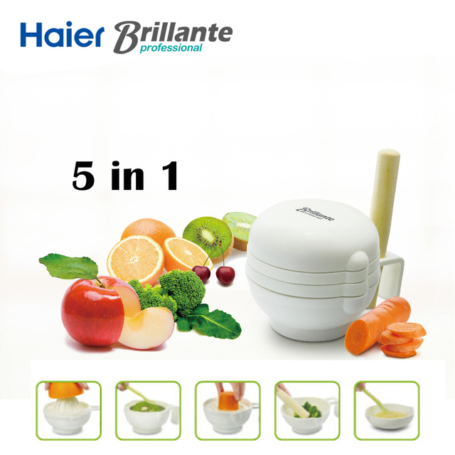 Haier Brillante 7pcs/set New Creative Multifunctional Manual Baby Food Conditioning Food Mills Tools Filter for Fruit Prato