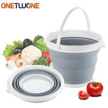 10L Folding Bucket, Silicone Bucket Portable Outdoor Fishing Collapsible Round Bucket Kitchen /Car Wash/Fishing /Bucket недорого