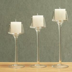 Набор из 3 предметов, стеклянный подсвечники, декоративные подсвечники, вазы, Высокий Подсвечник, украшение для свадьбы, дома, украшение для бара и вечеринки