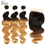 Remy Forte Three Tone T1B/4/27 Body Wave Bundles With Closure Ombre Brazilian Human Hair 3 / 4 Bundles With Closure Free Part