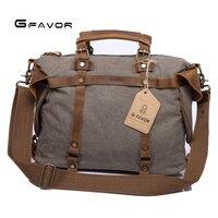 Men Briefcase Leather Canvas Laptop Satchel Messenger Work Bag Brown/Green/Khaki Crazy Horse Leather Traveling Briefcase Bag