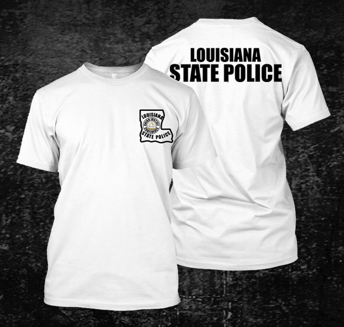 2019 Funny Louisiana State Police Custom Men 39 S Black T Shirt Tee Double Side Unisex Tee in T Shirts from Men 39 s Clothing