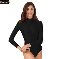Ensnovo Women Long Sleeve Unitard Lycra Skin Suit Lycra Nylon Spandex Face Jumpsuits And Rompers Bodysuit
