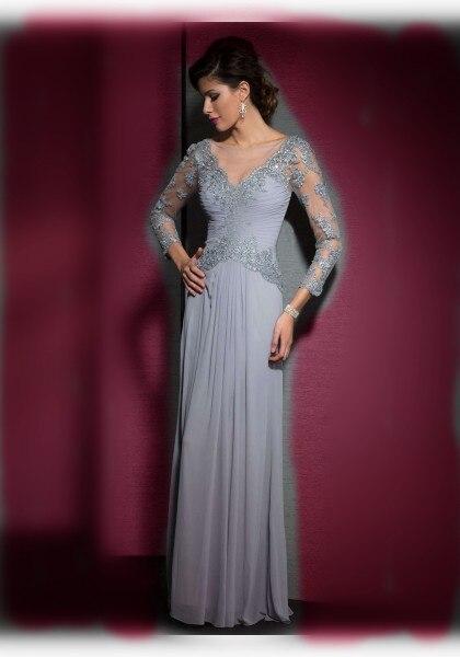 4cfeb024d57 Gorgeous Plata Encajes Madre de la Novia Vestidos Para Los Vestidos de  Noche vestido Largo de gasa con Manga Larga Vestidos de Fiesta Formales en  Vestidos ...