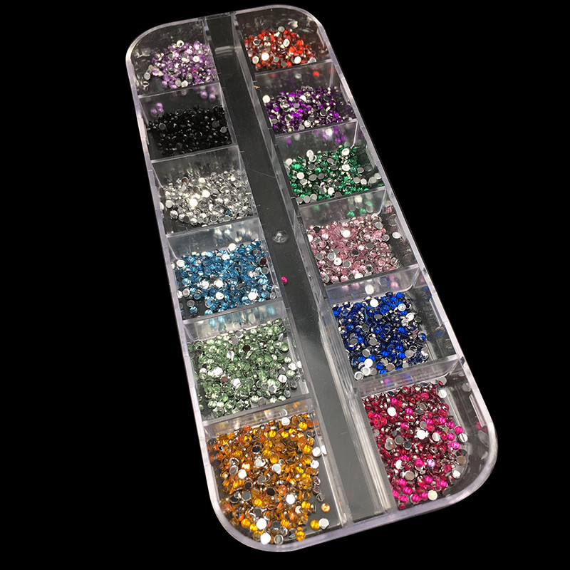 New Mix 12 Color 2mm Circle Beads Nail Art Tips Rhinestones Deco Glitters Nail Decoration with Hard Case Acrylic UV Gel