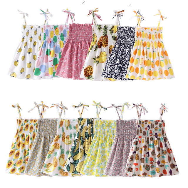 1-7 Years Kids Girl Sling Dresses Summer Chidlren Clothes Toddler Girls Dress Baby Cotton Sleeveless Print Flower Princess Dress
