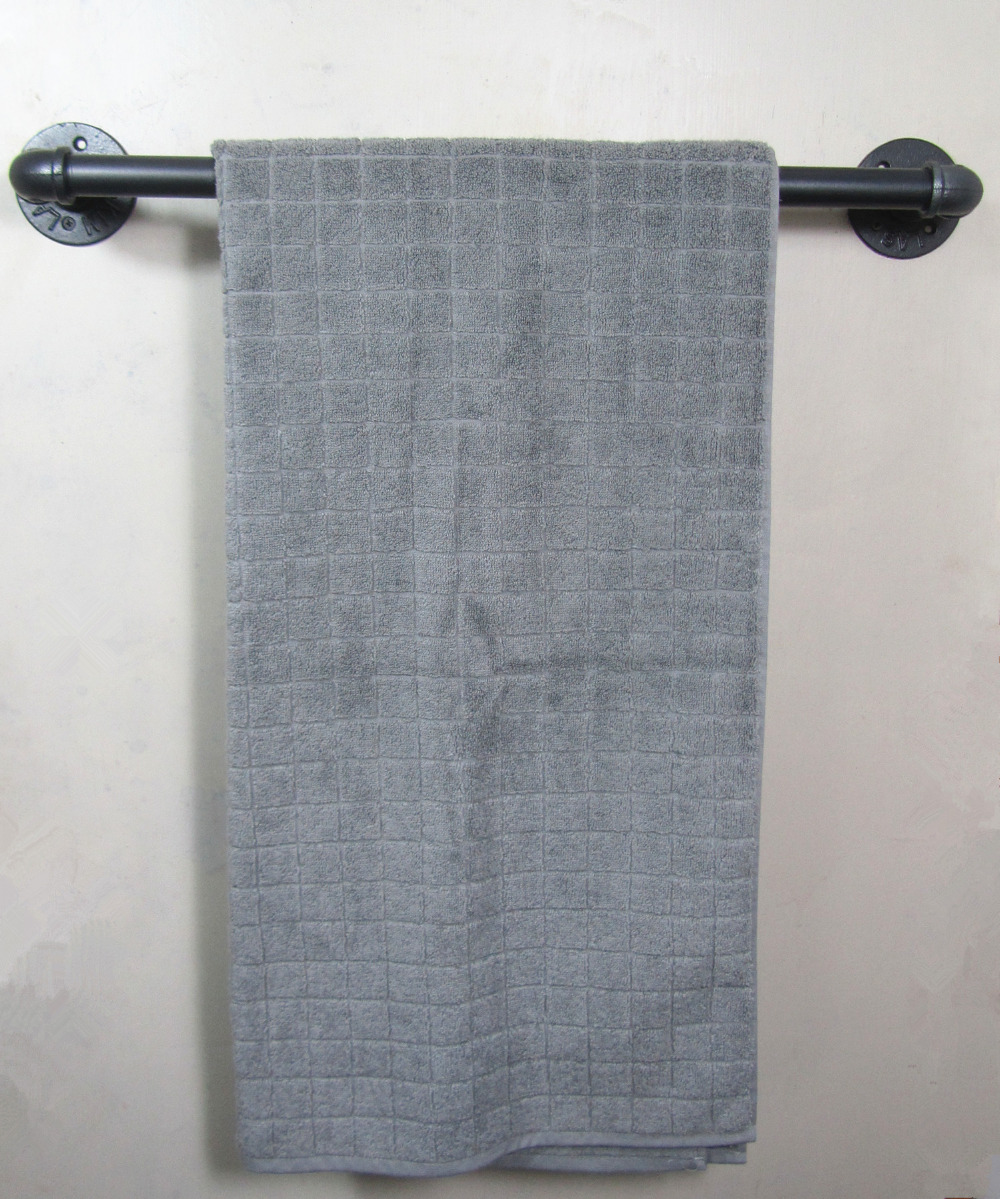 Industrial Retro Urban Rustic Iron Pipe Wall Mounted Towel Rack Rail ...