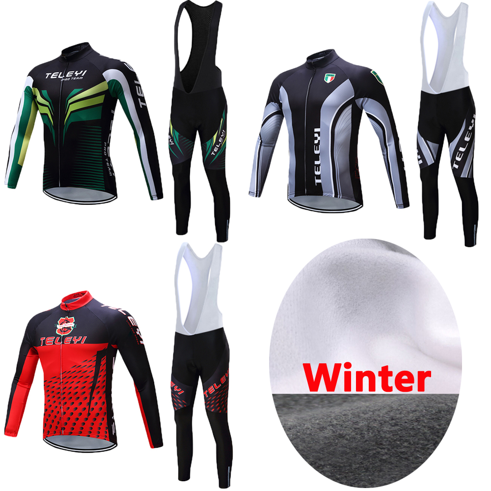 Men's Winter Long Sleeve Thermal Fleece Cycling Jersey 2017 Bike Clothing Set Skinsuit Kits MTB Equipment Bicycle Clothes Suits black thermal fleece cycling clothing winter fleece long adequate quality cycling jersey bicycle clothing cc5081
