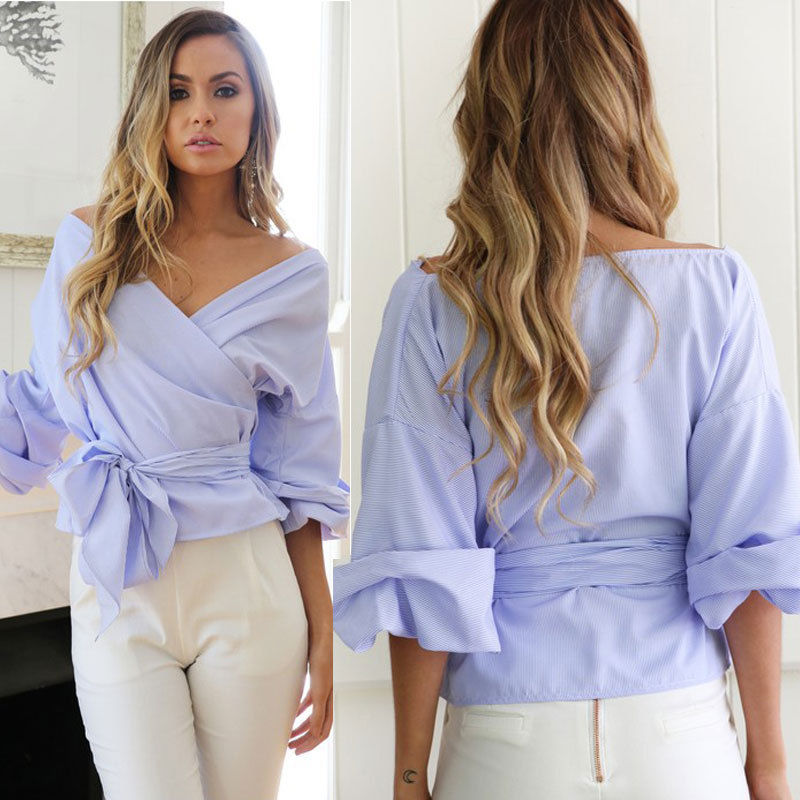 Fashion Women Bardot Top Ruffle Sleeve Tops Waist Bowknot Tie Cross Off Shoulder   Shirt   V-neck   Blouse