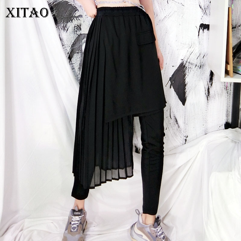 XITAO Chiffon Lace Sheath Leggings Women Korea Fashion New Thin False Two Piece Irregular Wild Joker Elegant 2019 ZLL4242
