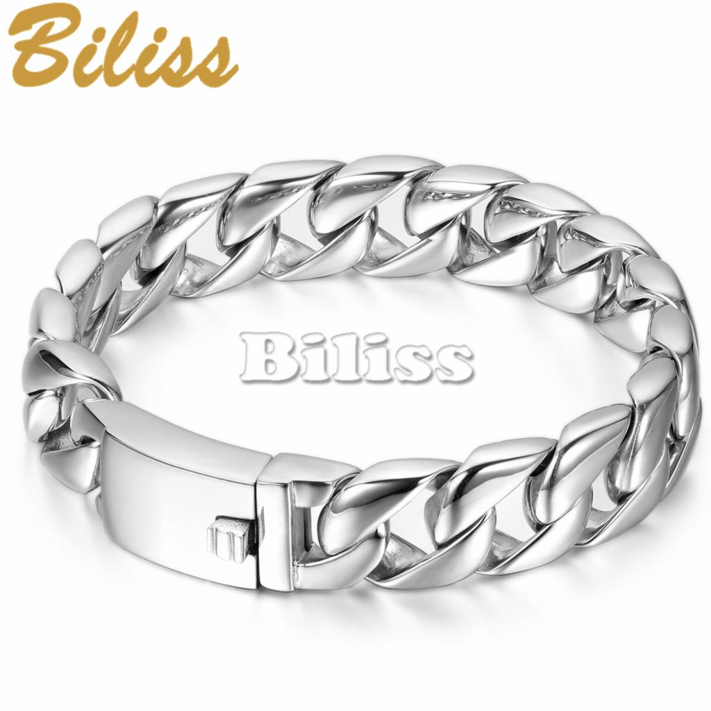 15mm Wide New Top Quality Punk Biker Men's Stainless Steel Curb Chain  Bracelet Silver Color High Polished 9 Inch