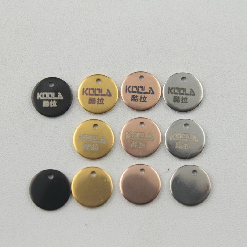 grandi affari online qui moda US $12.0 |Placcato di colore 8 millimetri in acciaio inossidabile tag con  incisione Laser logo etichette parti di gioielli 50 500 pz/lotto ZSP113-in  ...