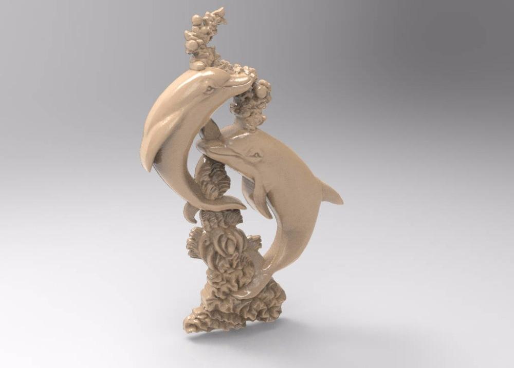 3d STL Model For CNC Router Engraver Carving Machine Relief Artcam Aspire Dolphins Decor CNC File (ES)