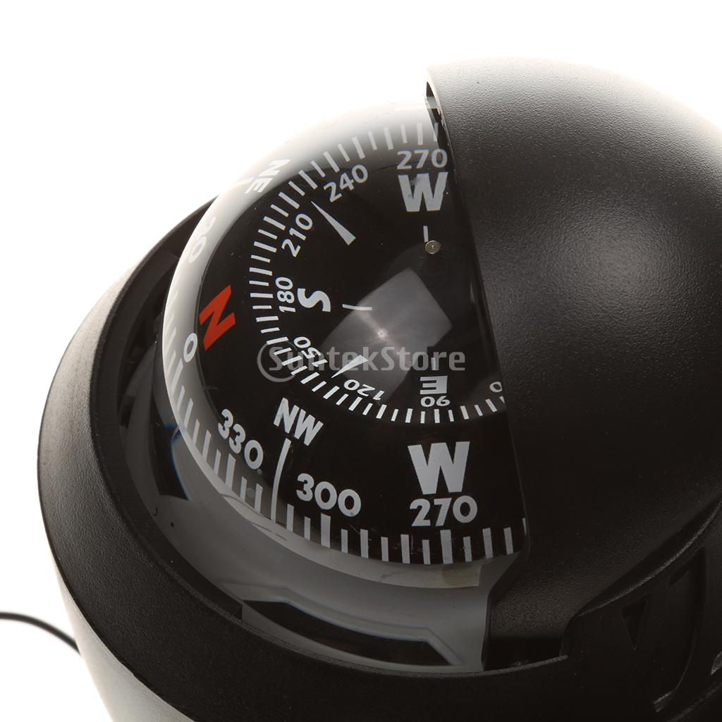 Black LED Light Dashboard Vehicle-borne Digital Compass Car Boat Compass