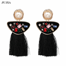 ФОТО vintage jewelry ethnic tassel earrings pendant fringe earrings with stones bohemian drop earrings for women
