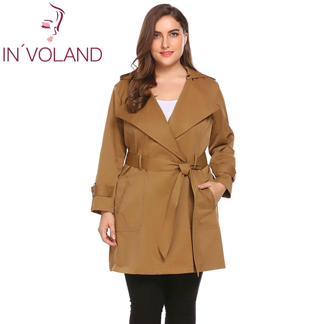 IN'VOLAND Women   Trench   Coat Plus Size 5XL One Button Hooded Windbreaker Long Sleeve Lady Large Overcoats Big Size with Belt