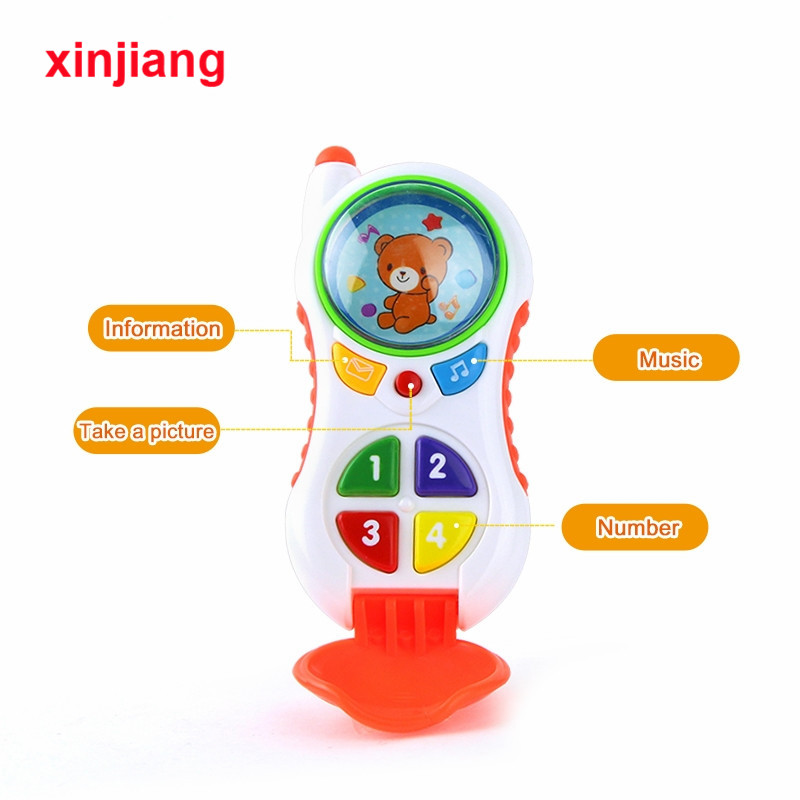 2 Colors Baby Phone Toys Simulation Music & Light  Mobile Phone Toy Educational Toy Children's Phone Birthday Gift }