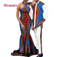 danshiki african couple clothing woman dress and man suit customizable wax Cotton couples matching clothing for lover WYQ140