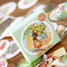 46pcs/pack Fresh Style Succulent Plants Flower Label Stickers Decorative Diary Stickers Scrapbooking DIY Album Bookmark Stickers