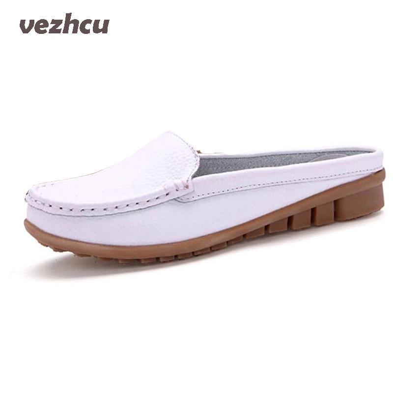 VZEHCU Women sandals summer half slippers flip flops Genuine Leather sandals clogs Shoes Woman Plus Size