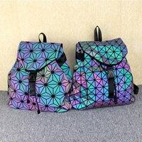 Geometric Diamond Lattice Backpack Luminous Travel Men Women Backpacks Teenage Girl Hologram School Bag